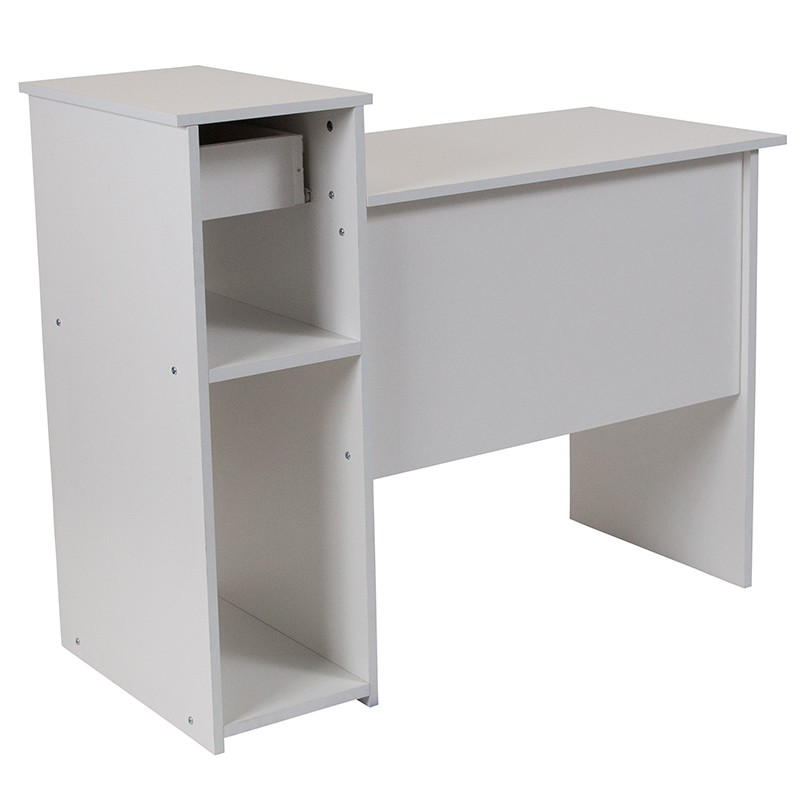 White Desk With Shelves Zoom
